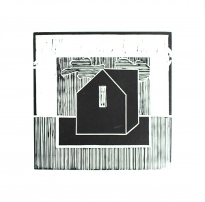 The House by two cloud covers-relief print-2014-